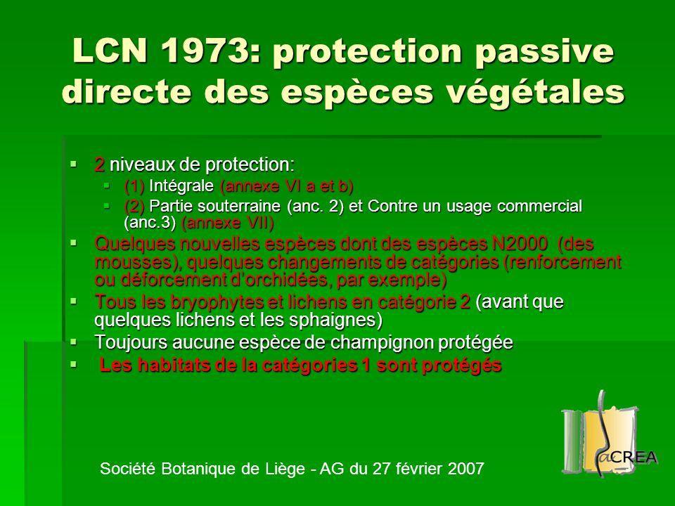 LCN 1973: protection passive directe des espèces végétales