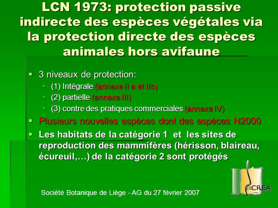 LCN 1973: protection passive indirecte des espèces végétales via la protection directe des espèces animales hors avifaune