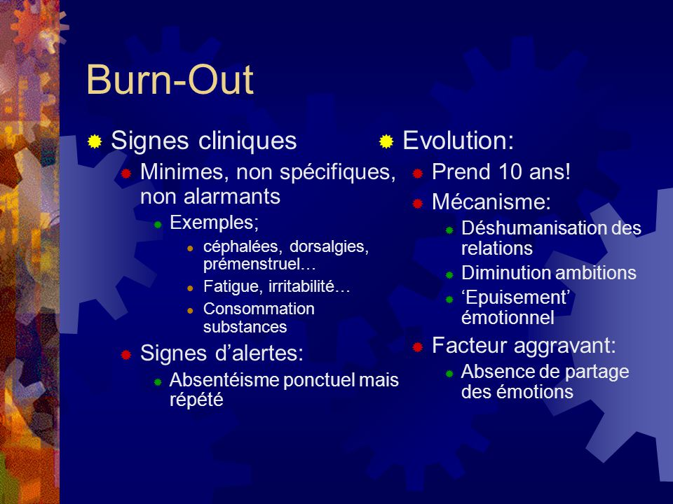 Burn-Out Signes cliniques Evolution: