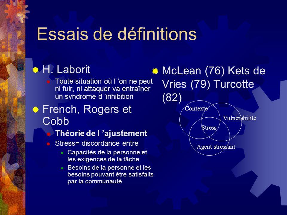 Essais de définitions H. Laborit French, Rogers et Cobb