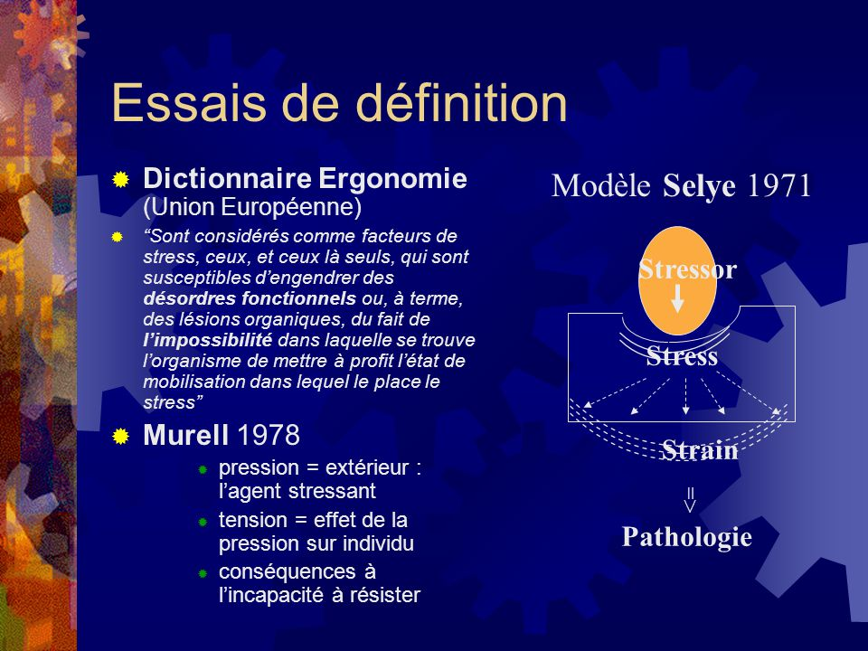Essais de définition Modèle Selye 1971