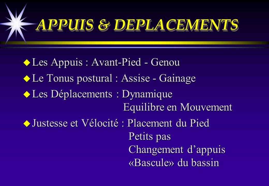APPUIS & DEPLACEMENTS Les Appuis : Avant-Pied - Genou
