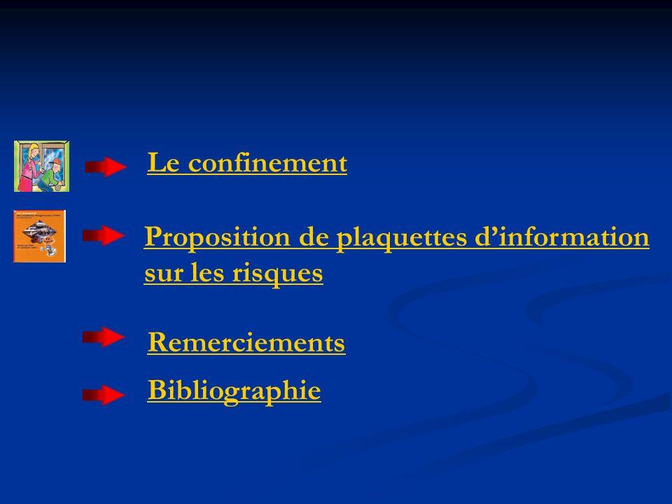 Le confinement Proposition de plaquettes d'information sur les risques Remerciements Bibliographie