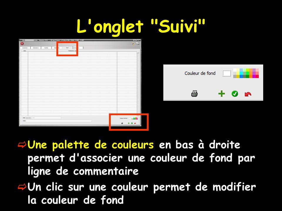 L onglet Suivi Une palette de couleurs en bas à droite permet d associer une couleur de fond par ligne de commentaire.