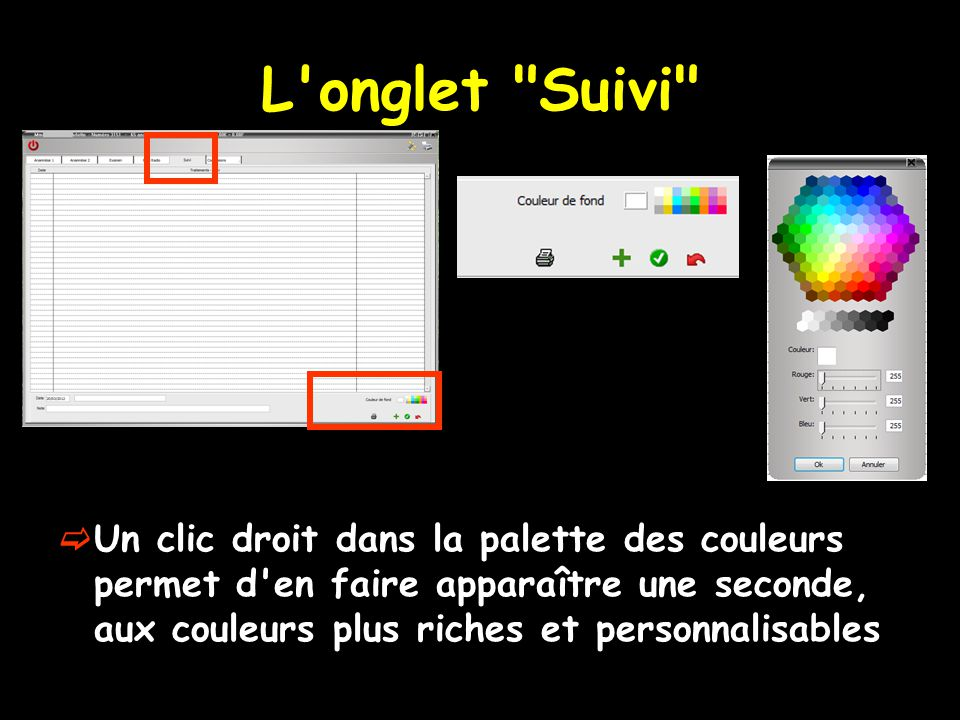 L onglet Suivi Un clic droit dans la palette des couleurs permet d en faire apparaître une seconde, aux couleurs plus riches et personnalisables.