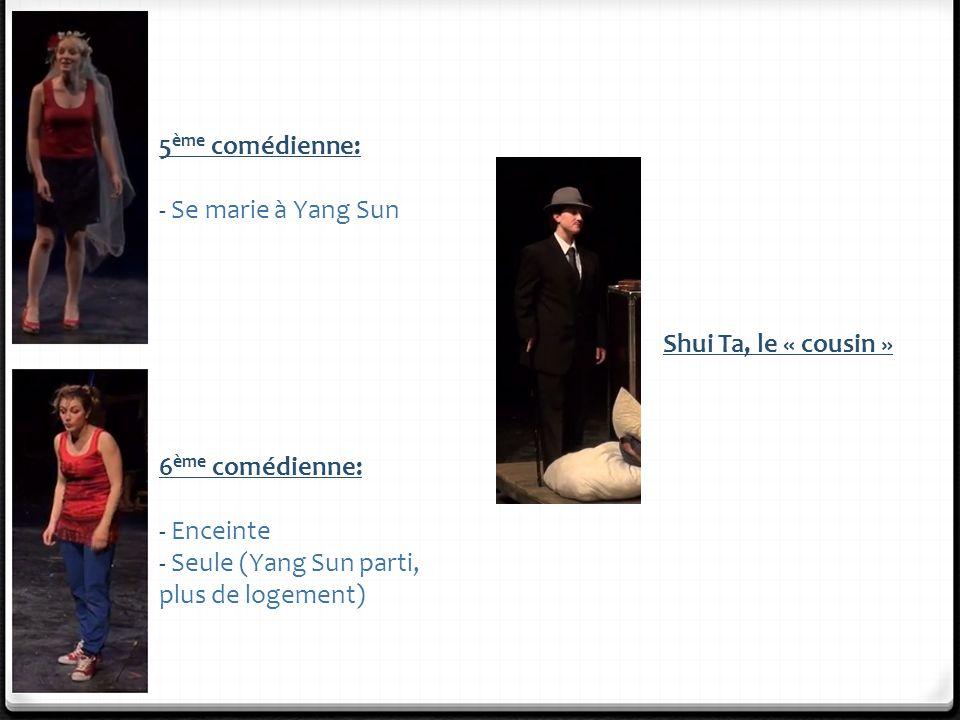 5ème comédienne: - Se marie à Yang Sun. Shui Ta, le « cousin » 6ème comédienne: - Enceinte.