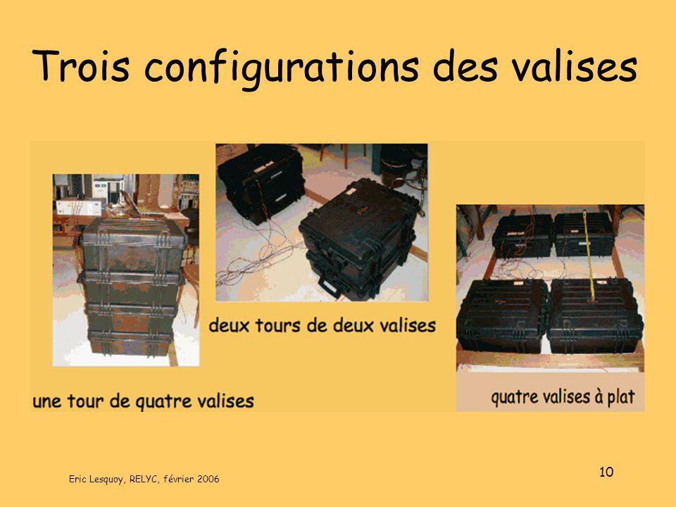 Trois configurations des valises
