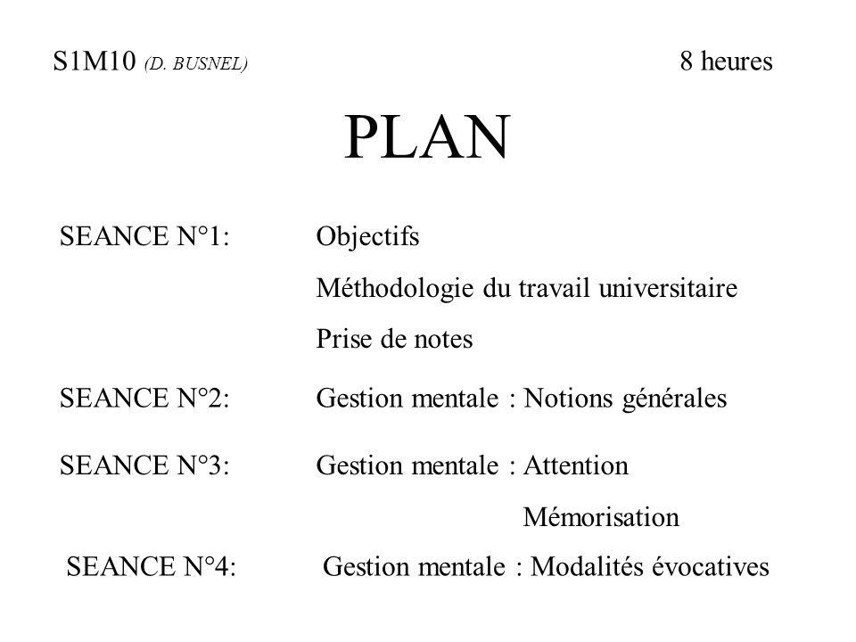 PLAN S1M10 (D. BUSNEL) 8 heures SEANCE N°1: Objectifs
