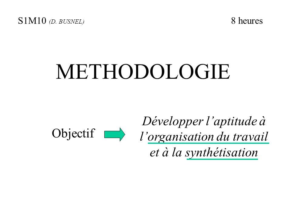 S1M10 (D. BUSNEL) 8 heures. METHODOLOGIE. Développer l'aptitude à l'organisation du travail et à la synthétisation.