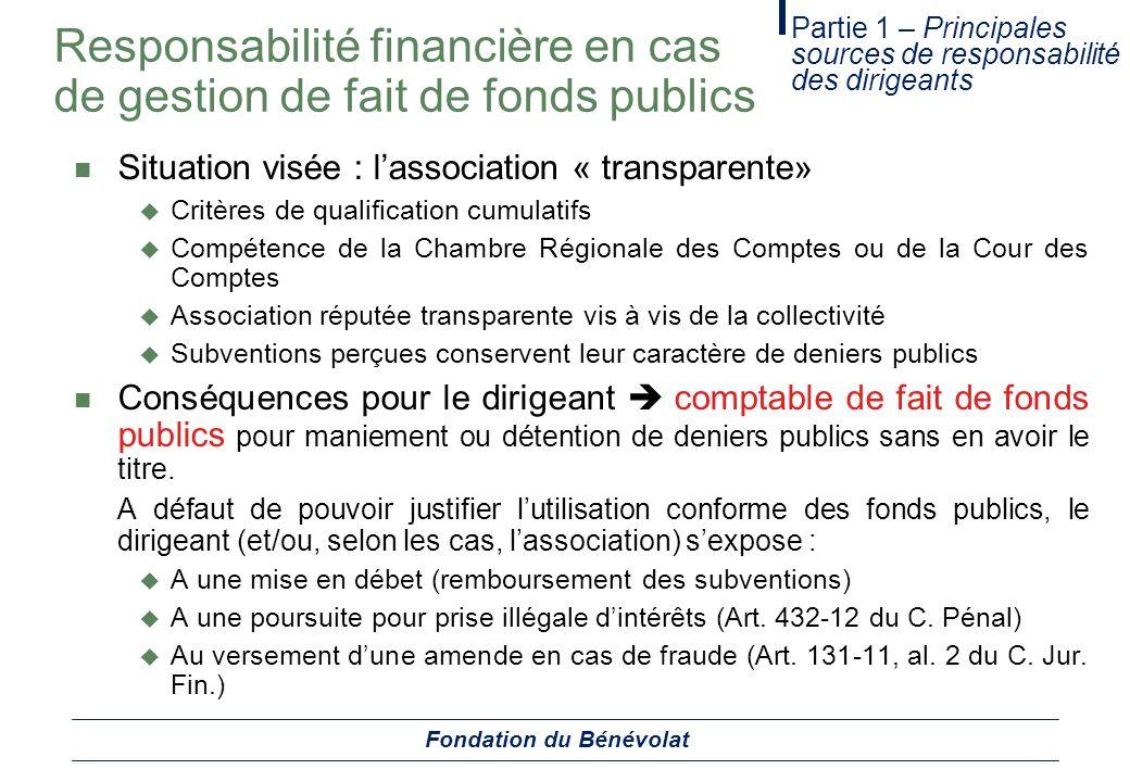 Responsabilité financière en cas de gestion de fait de fonds publics