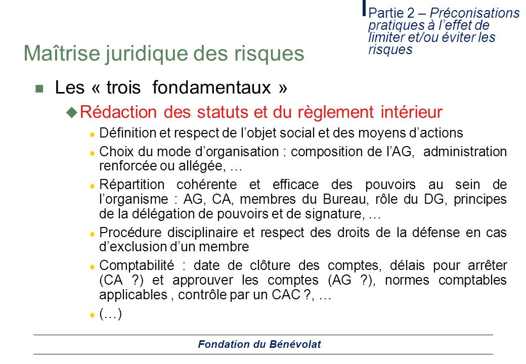 Fondation du b n volat ppt t l charger for Definition du reglement interieur