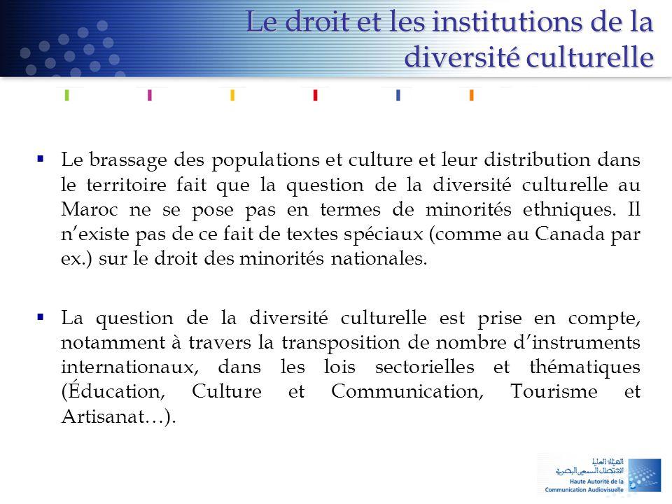 Le droit et les institutions de la diversité culturelle