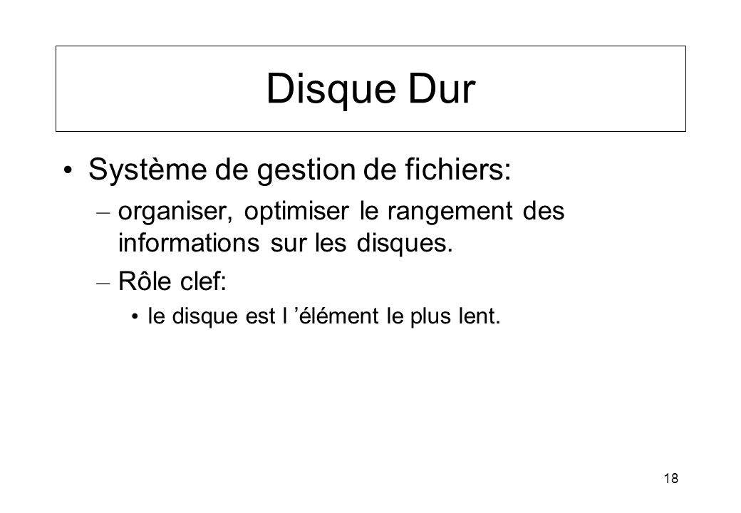 Disque Dur Système de gestion de fichiers: