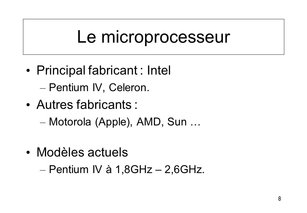 Le microprocesseur Principal fabricant : Intel Autres fabricants :