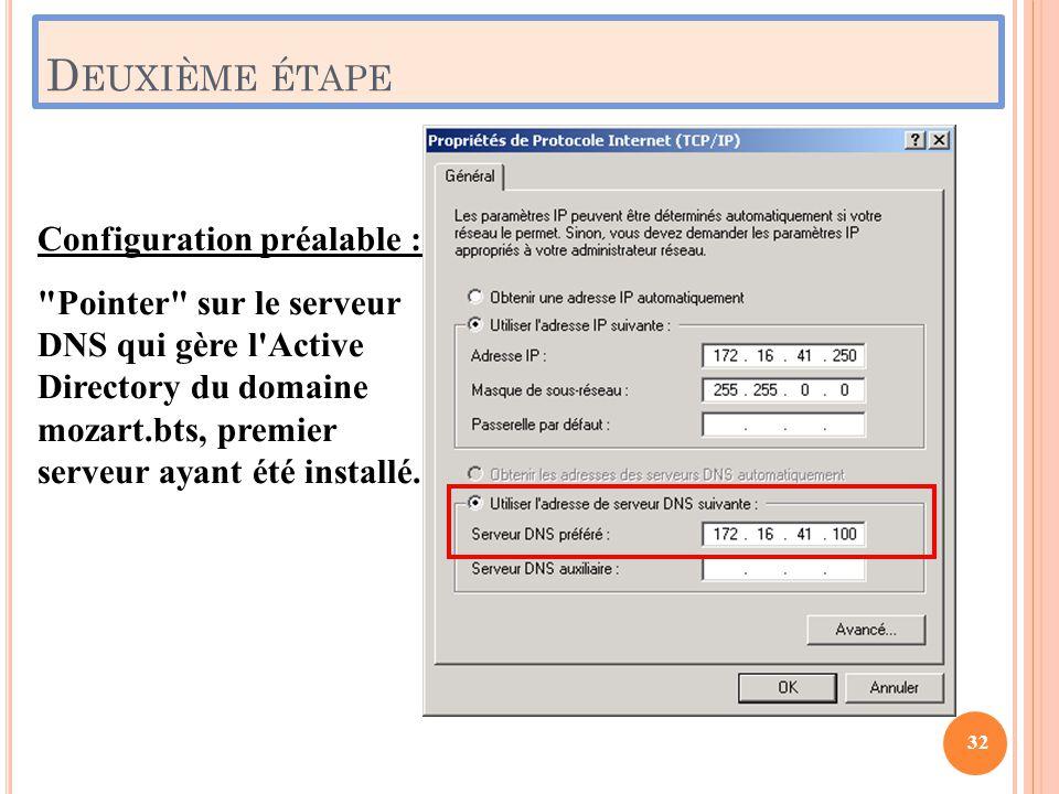Deuxième étape Configuration préalable :