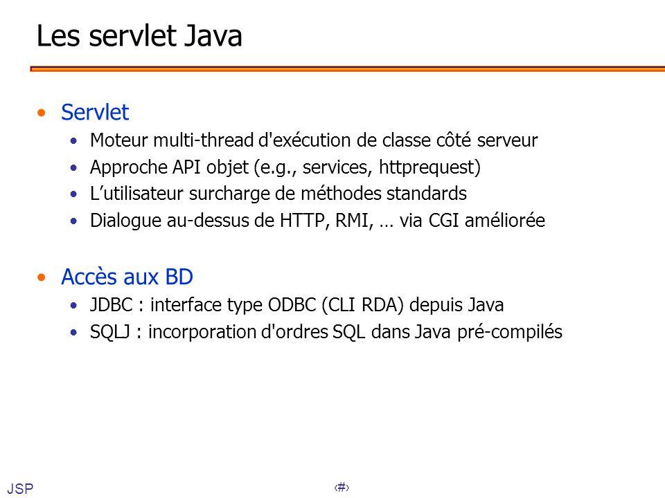 Les servlet Java Servlet Accès aux BD