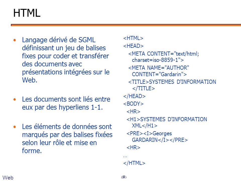 HTML Langage dérivé de SGML définissant un jeu de balises fixes pour coder et transférer des documents avec présentations intégrées sur le Web.