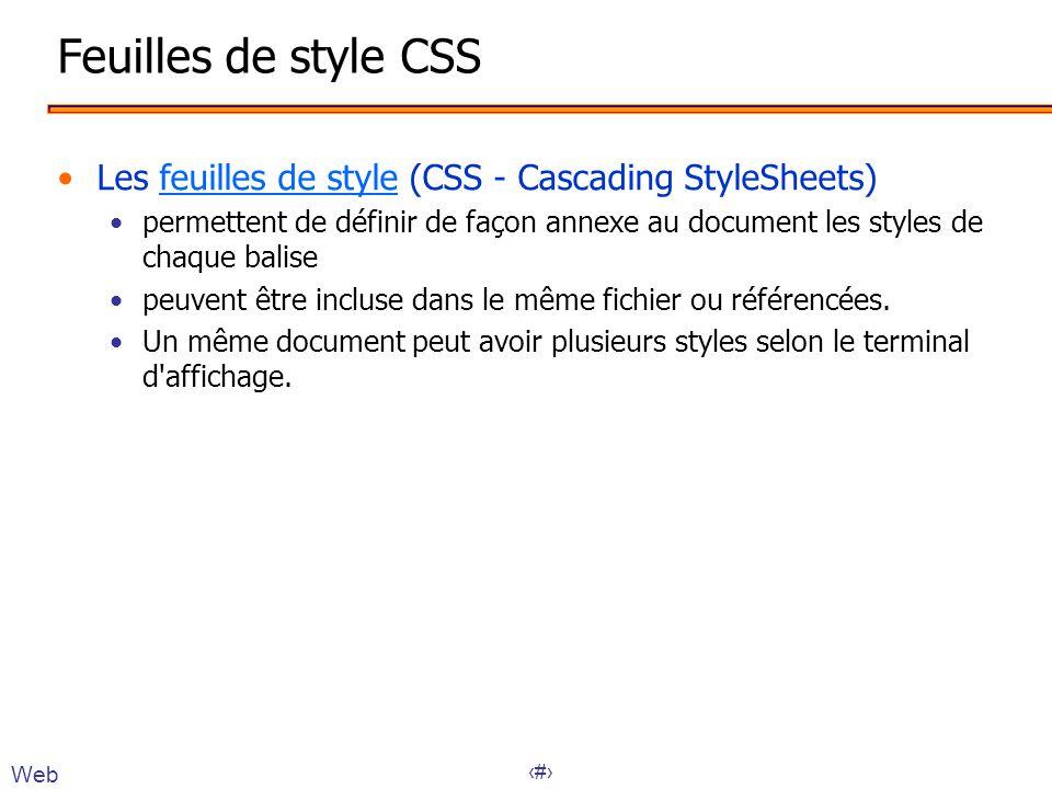 Feuilles de style CSS Les feuilles de style (CSS - Cascading StyleSheets)
