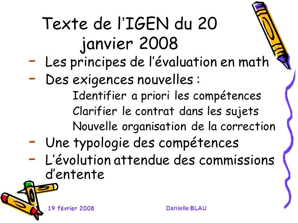 Texte de l'IGEN du 20 janvier 2008