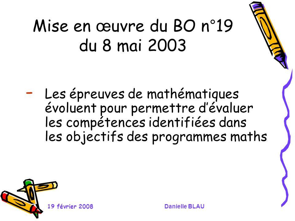 Mise en œuvre du BO n°19 du 8 mai 2003