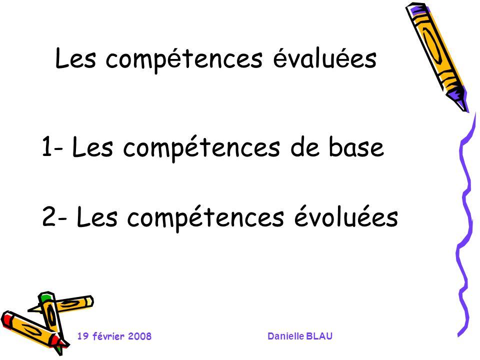 Les compétences évaluées
