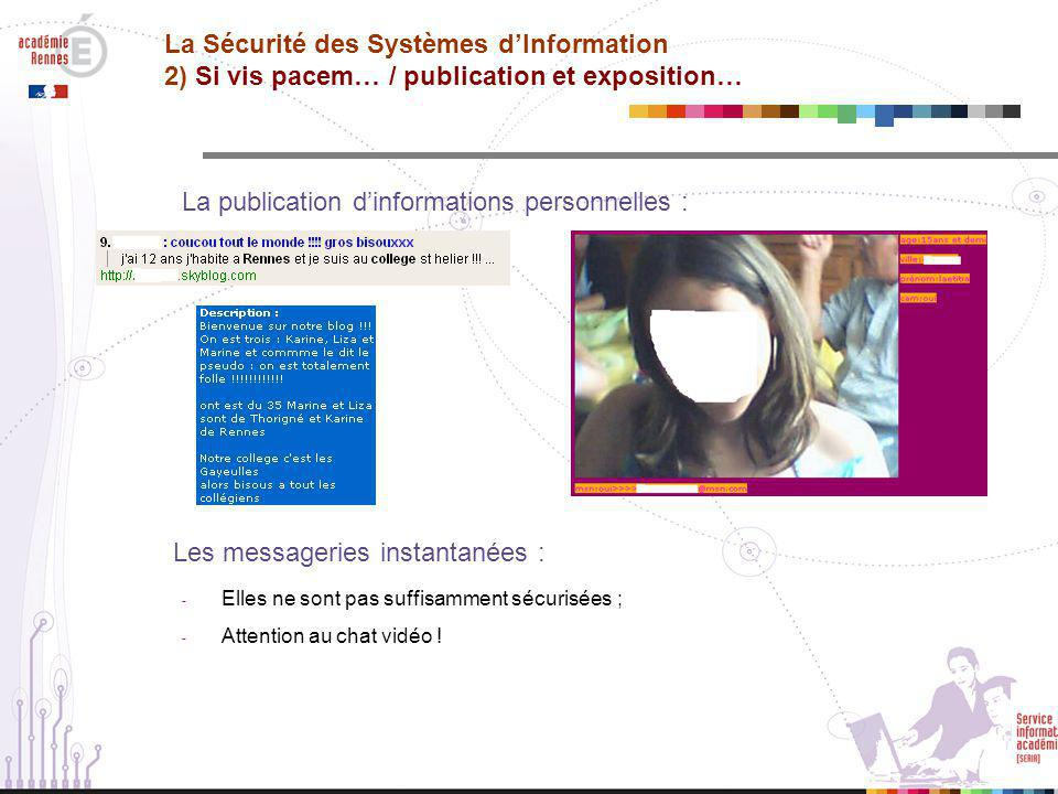La publication d'informations personnelles :