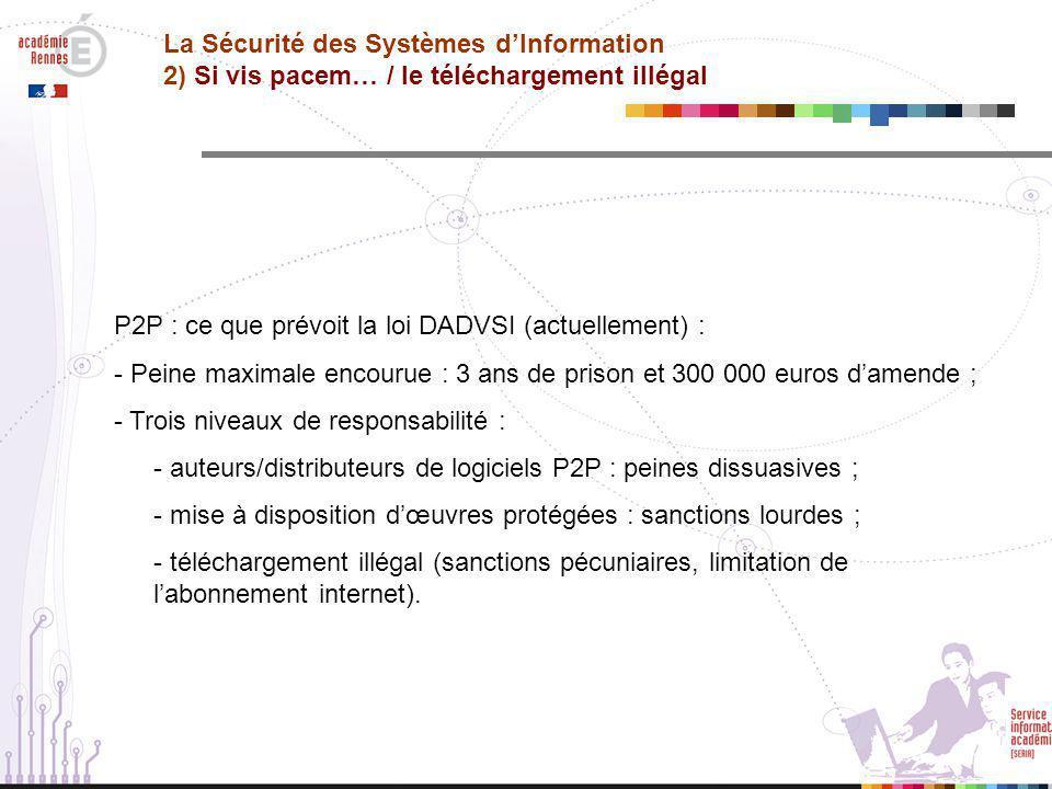 La Sécurité des Systèmes d'Information 2) Si vis pacem… / le téléchargement illégal