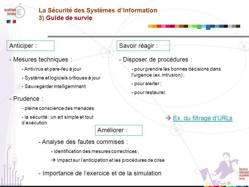 La Sécurité des Systèmes d'Information 3) Guide de survie