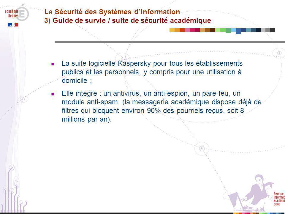 La Sécurité des Systèmes d'Information 3) Guide de survie / suite de sécurité académique