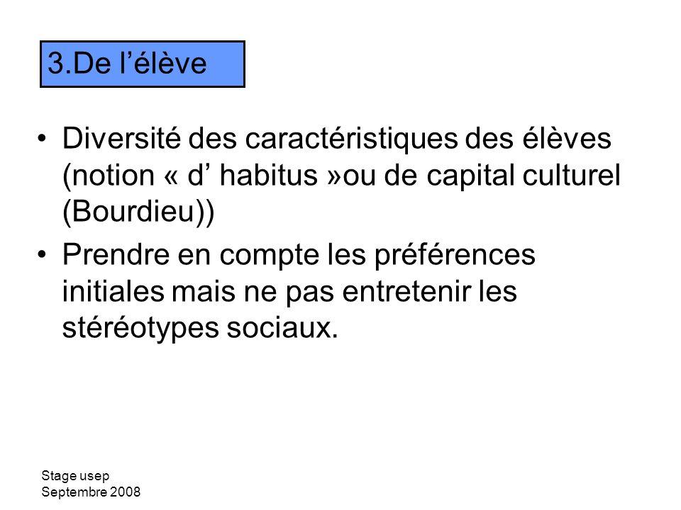 De l'élève Diversité des caractéristiques des élèves (notion « d' habitus »ou de capital culturel (Bourdieu))