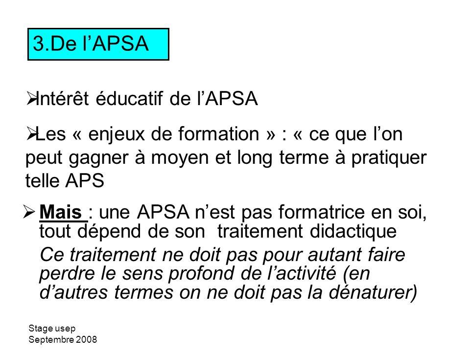 De l'APSA Intérêt éducatif de l'APSA