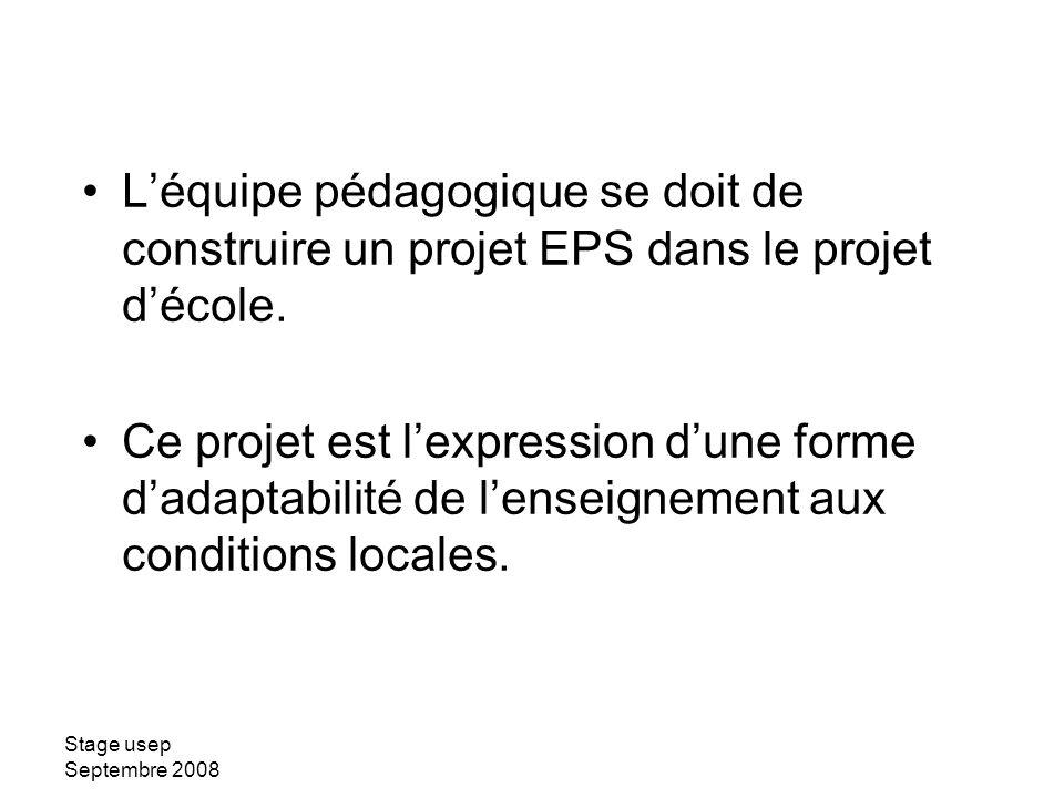L'équipe pédagogique se doit de construire un projet EPS dans le projet d'école.