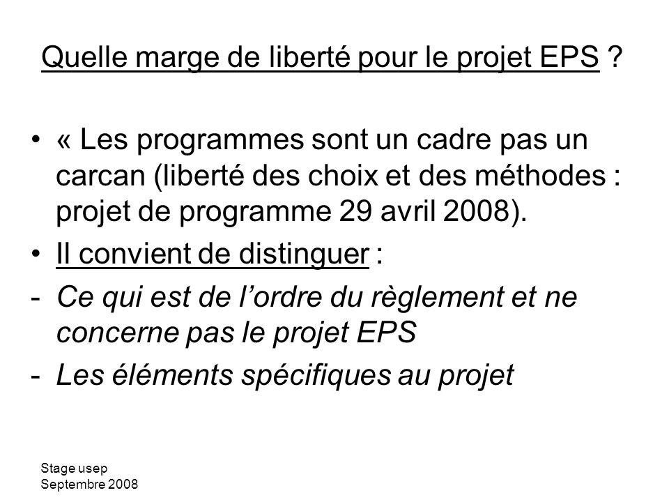Quelle marge de liberté pour le projet EPS