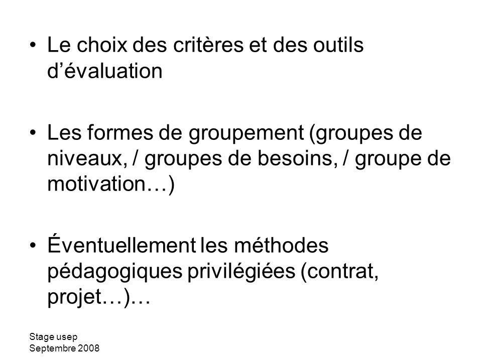 Le choix des critères et des outils d'évaluation