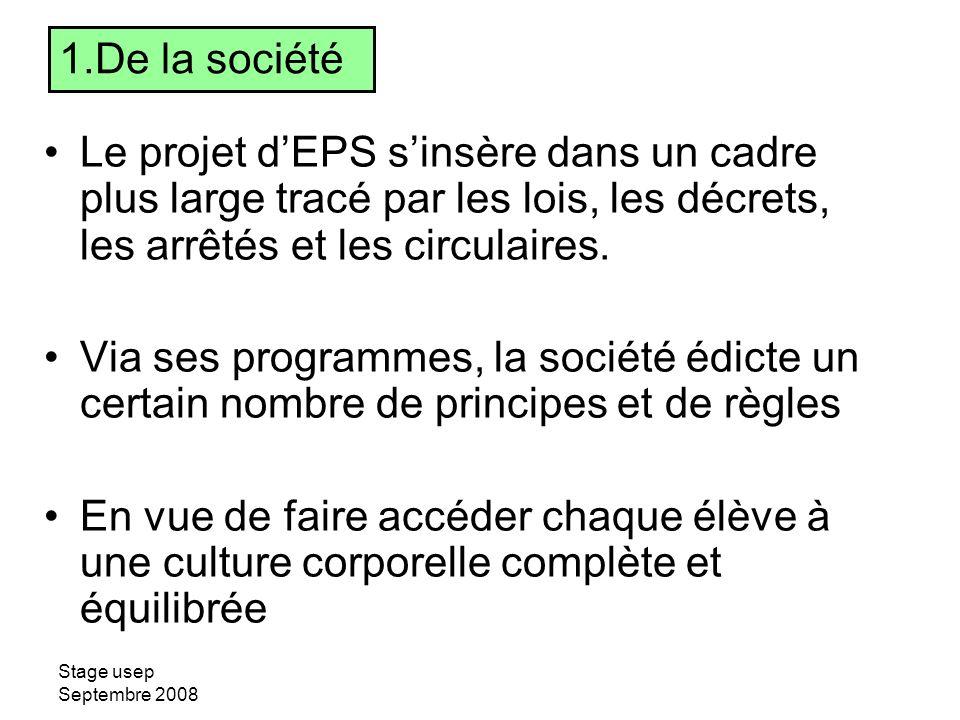 De la société Le projet d'EPS s'insère dans un cadre plus large tracé par les lois, les décrets, les arrêtés et les circulaires.