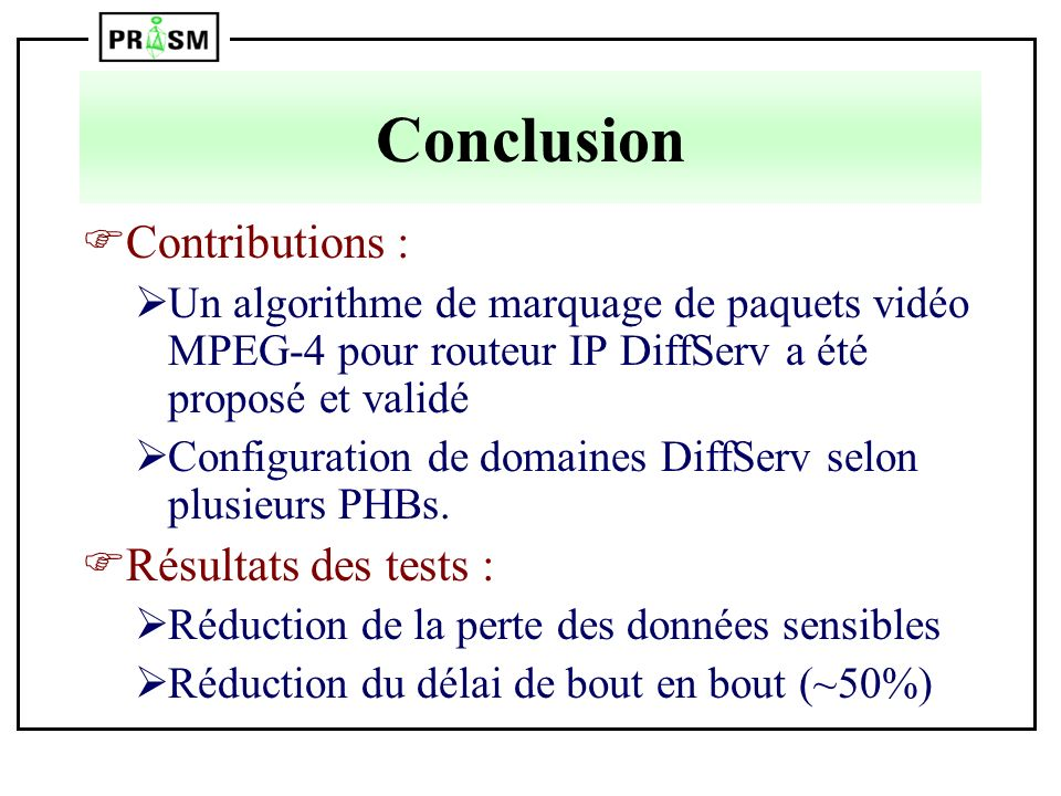 Conclusion Contributions : Résultats des tests :