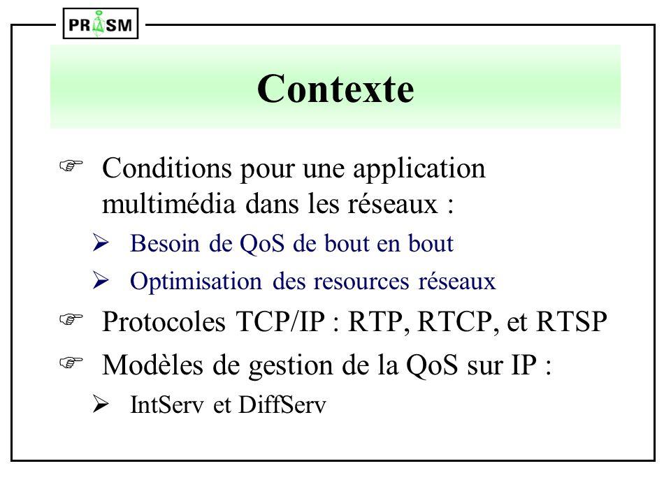 Contexte Conditions pour une application multimédia dans les réseaux :
