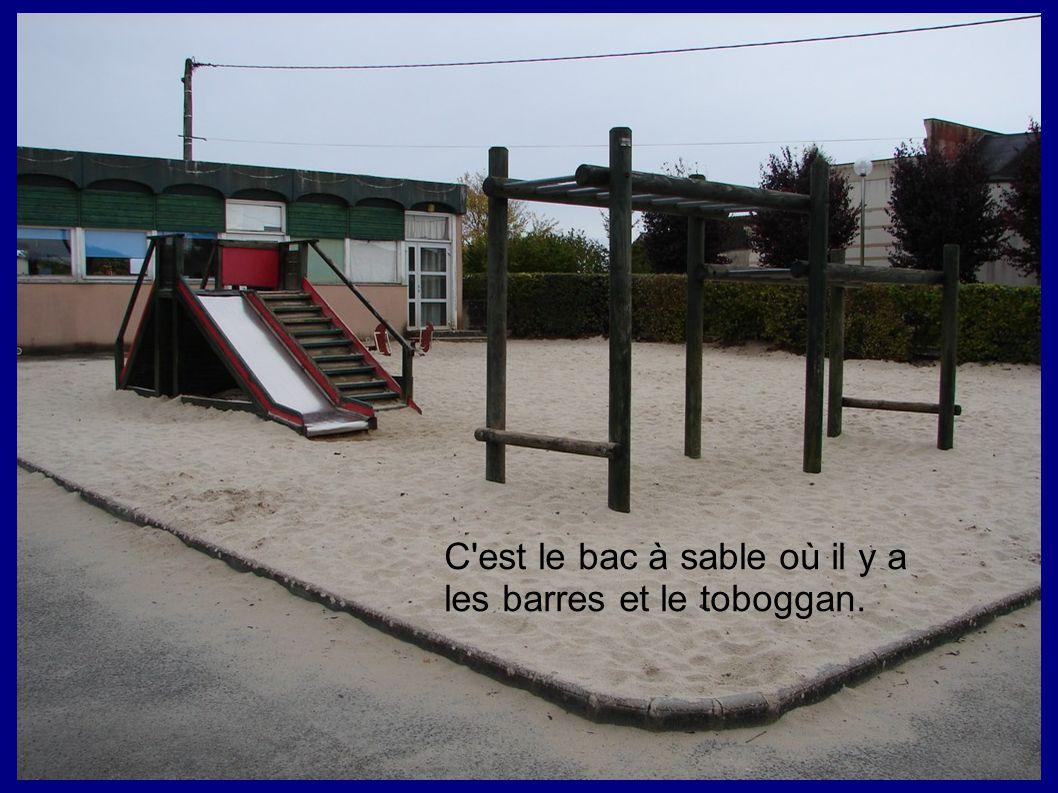 C est le bac à sable où il y a les barres et le toboggan.