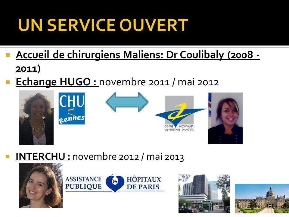 UN SERVICE OUVERT Accueil de chirurgiens Maliens: Dr Coulibaly (2008 - 2011) Echange HUGO : novembre 2011 / mai 2012.