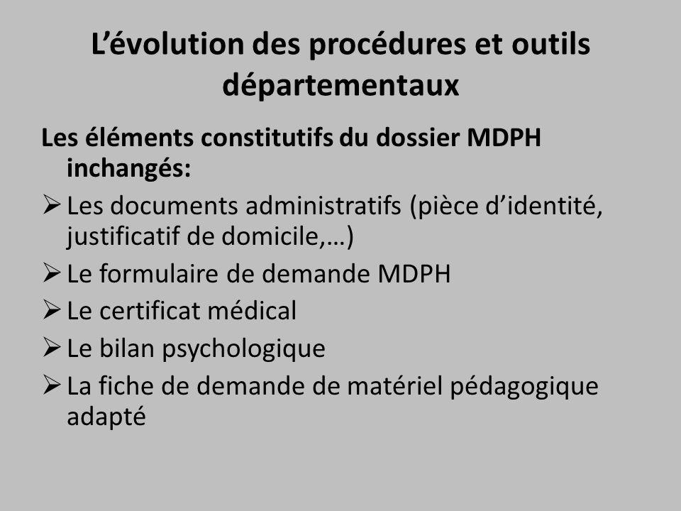 L'évolution des procédures et outils départementaux