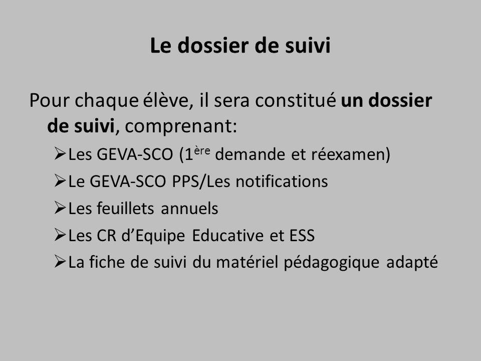 Le dossier de suivi Pour chaque élève, il sera constitué un dossier de suivi, comprenant: Les GEVA-SCO (1ère demande et réexamen)