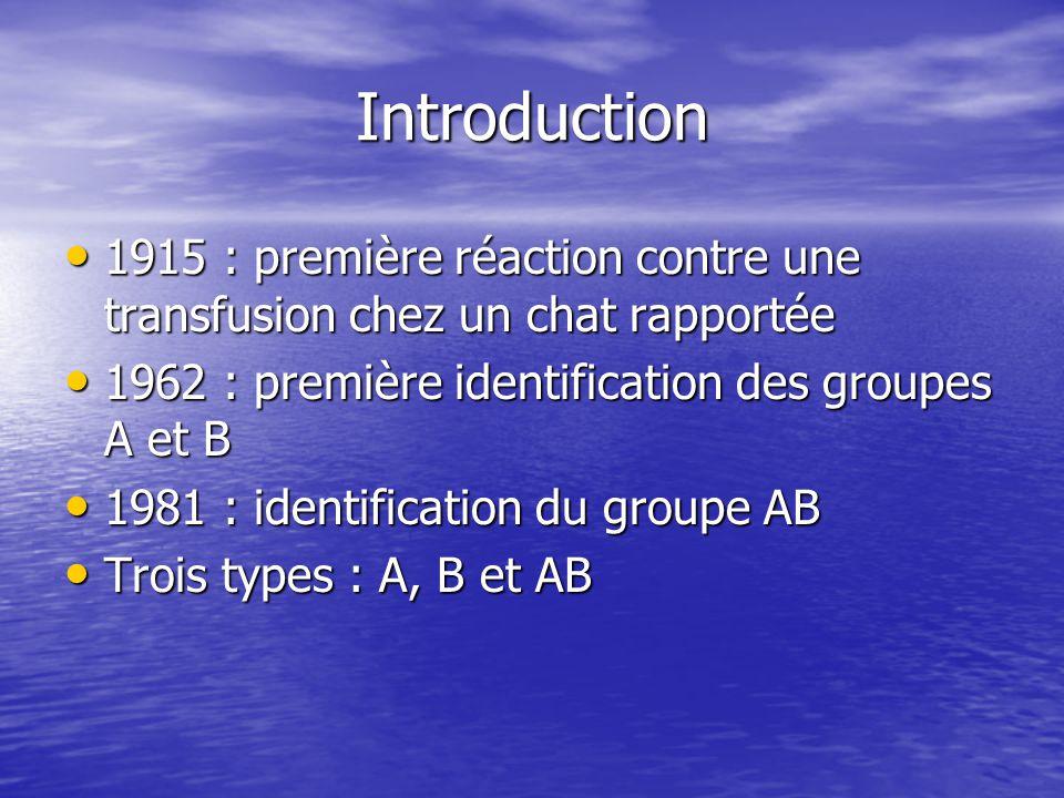 Introduction 1915 : première réaction contre une transfusion chez un chat rapportée. 1962 : première identification des groupes A et B.