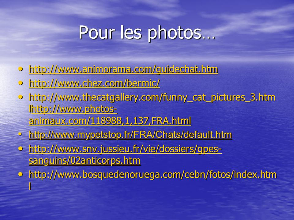 Pour les photos… http://www.animorama.com/guidechat.htm