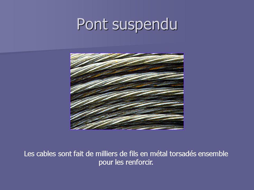 Pont suspendu Les cables sont fait de milliers de fils en métal torsadés ensemble pour les renforcir.