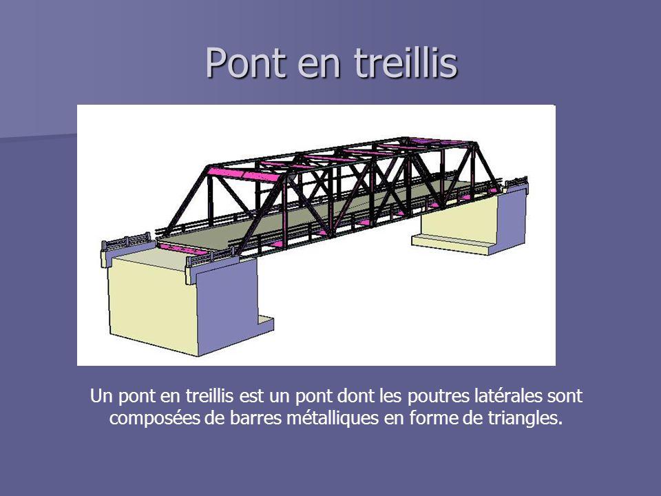 Pont en treillis Un pont en treillis est un pont dont les poutres latérales sont composées de barres métalliques en forme de triangles.