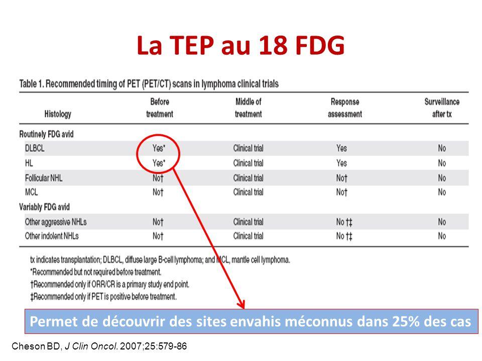 La TEP au 18 FDG Permet de découvrir des sites envahis méconnus dans 25% des cas.