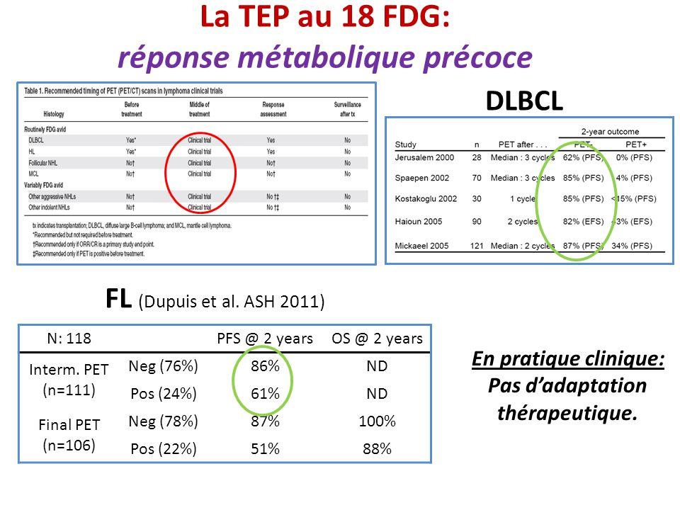 La TEP au 18 FDG: réponse métabolique précoce