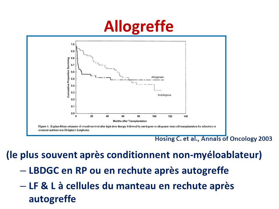 Allogreffe (le plus souvent après conditionnent non-myéloablateur)