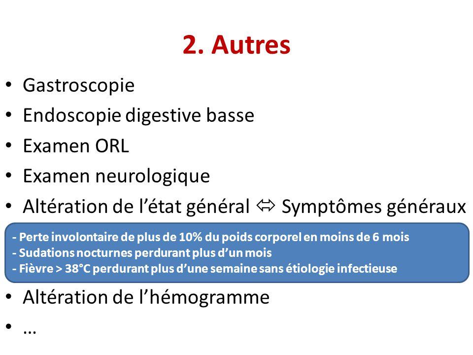 2. Autres Gastroscopie Endoscopie digestive basse Examen ORL