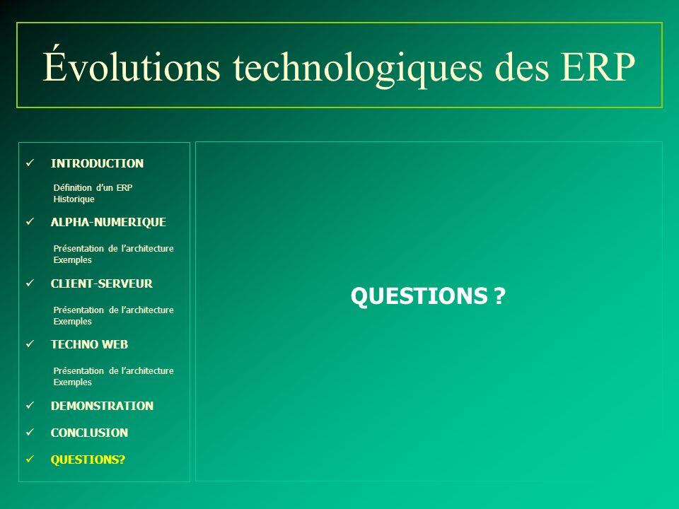 Évolutions technologiques des ERP